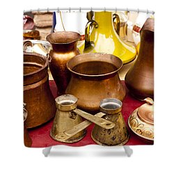 Brass Antiques Shower Curtain by Rae Tucker