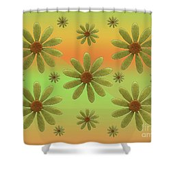 Brass Corollas Shower Curtain