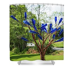 Brass Tree, Blue Bottle Leaves Shower Curtain