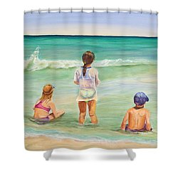 Shower Curtain featuring the painting Brats by Patricia Piffath