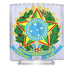 Brazil Coat Of Arms Shower Curtain by Movie Poster Prints