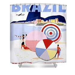 Brazil Vintage Travel Poster Restored Shower Curtain