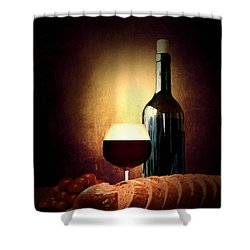 Bread And Wine Shower Curtain by Lourry Legarde