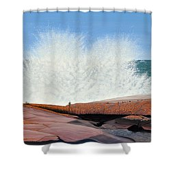 Shower Curtain featuring the painting Breakers On Georgian Bay by Kenneth M  Kirsch