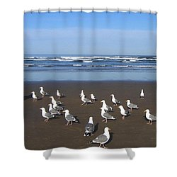 Breakfast At Cannon Beach Shower Curtain by Will Borden