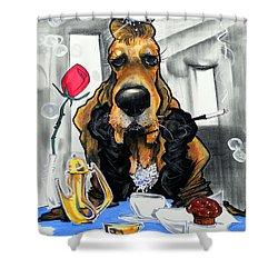 Breakfast At Tiffany's Basset Hound Caricature Art Print Shower Curtain