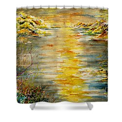 Shower Curtain featuring the painting New Horizons by Alfred Motzer