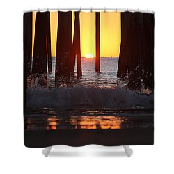 Breaking Dawn At The Pier Shower Curtain by Robert Banach
