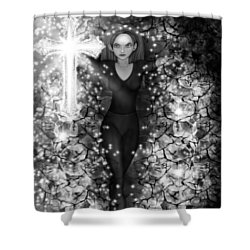 Breaking Through Darkness - Black And White Fantasy Art Shower Curtain