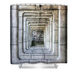 Breaking Through The Forth Wall Shower Curtain by David LaSpina