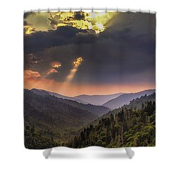 Breaking Thru At Sunset Shower Curtain by Andrew Soundarajan