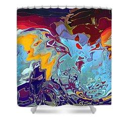Breaking Waves Shower Curtain by Alika Kumar