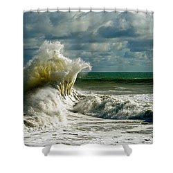 Breakwater Backwash Shower Curtain by Michael Cinnamond
