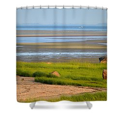 Breakwater Beach At Low Tide Shower Curtain