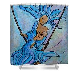 Breastfeeding Everywhere Breastfeeding On A Swing Shower Curtain by Gioia Albano