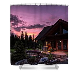 Breck Nordic Lodge Sunset Shower Curtain
