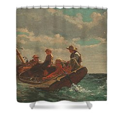 Shower Curtain featuring the painting Breezing Up A Fair Wind - 1876 by Winslow Homer