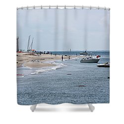 Breezy Point Lighthouse Shower Curtain