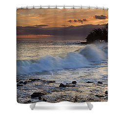 Brennecke Waves Sunset Shower Curtain by Mike  Dawson