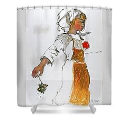 Breton Girl Shower Curtain by Mykul Anjelo