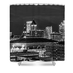 Shower Curtain featuring the photograph Brew City At Night by Randy Scherkenbach