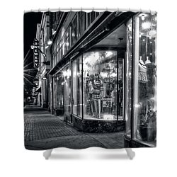 Brewery And Boutique In Black And White Shower Curtain by Greg Mimbs