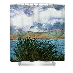 Brewing Storm Over Lake Watercolor Painting Shower Curtain