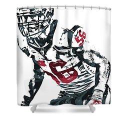 Shower Curtain featuring the mixed media Brian Cushing Houston Texans Pixel Art by Joe Hamilton