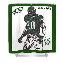 Shower Curtain featuring the drawing Brian Dawkins 3 by Jeremiah Colley