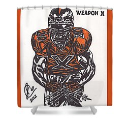 Shower Curtain featuring the drawing Brian Dawkins by Jeremiah Colley