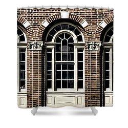 Shower Curtain featuring the photograph Brick Arch Windows by Brad Allen Fine Art