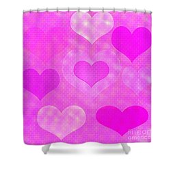 Brick Hearts Shower Curtain