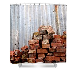 Shower Curtain featuring the photograph Brick Piled by Stephen Mitchell