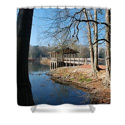 Brick Pond Park Shower Curtain by Kay Lovingood