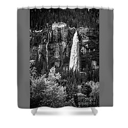 Bridal Veil Falls In Bw Shower Curtain