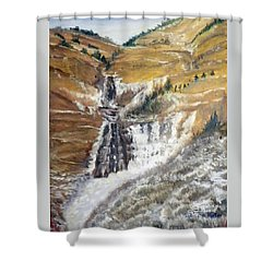 Bridal Veil Falls In Winter Shower Curtain by Sherril Porter