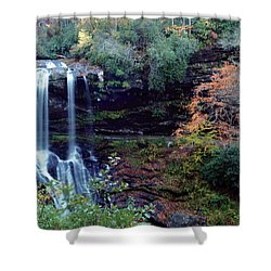Shower Curtain featuring the painting Bridal Veil Waterfalls by Debra Crank