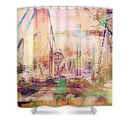 Shower Curtain featuring the photograph Bridge And Grain Belt Beer Sign by Susan Stone