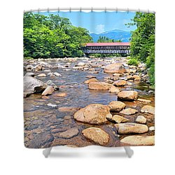 Bridge And Mountain Stream Shower Curtain