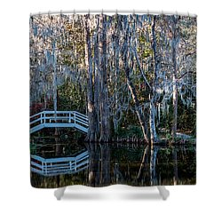 Bridge And Statue At Magnolia Plantation Gardens Shower Curtain