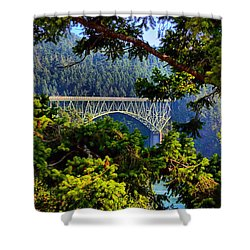 Shower Curtain featuring the photograph Bridge At Deception Pass by Michelle Joseph-Long