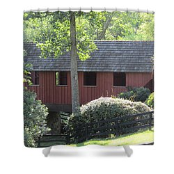 Bridge At Pont Rouge Farm Shower Curtain by Charlotte Gray