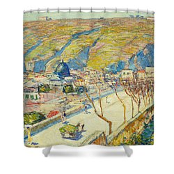 Bridge At Posilippo At Naples Shower Curtain by Childe Hassam