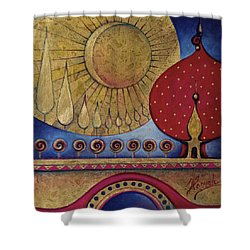 Shower Curtain featuring the painting Bridge Between Sunrise And Moonrise by Anna Ewa Miarczynska