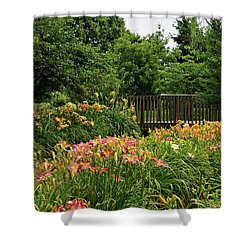 Shower Curtain featuring the photograph Bridge In Daylily Garden by Sandy Keeton
