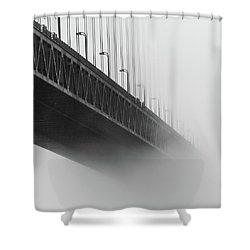 Shower Curtain featuring the photograph Bridge In The Fog by Stephen Holst
