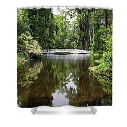 Shower Curtain featuring the photograph Bridge In The Garden by Sandy Keeton