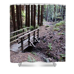 Bridge In The Redwoods Shower Curtain