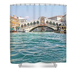 Shower Curtain featuring the photograph Bridge In Venice by Roberta Byram