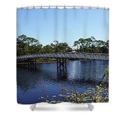 Western Lake Bridge Shower Curtain